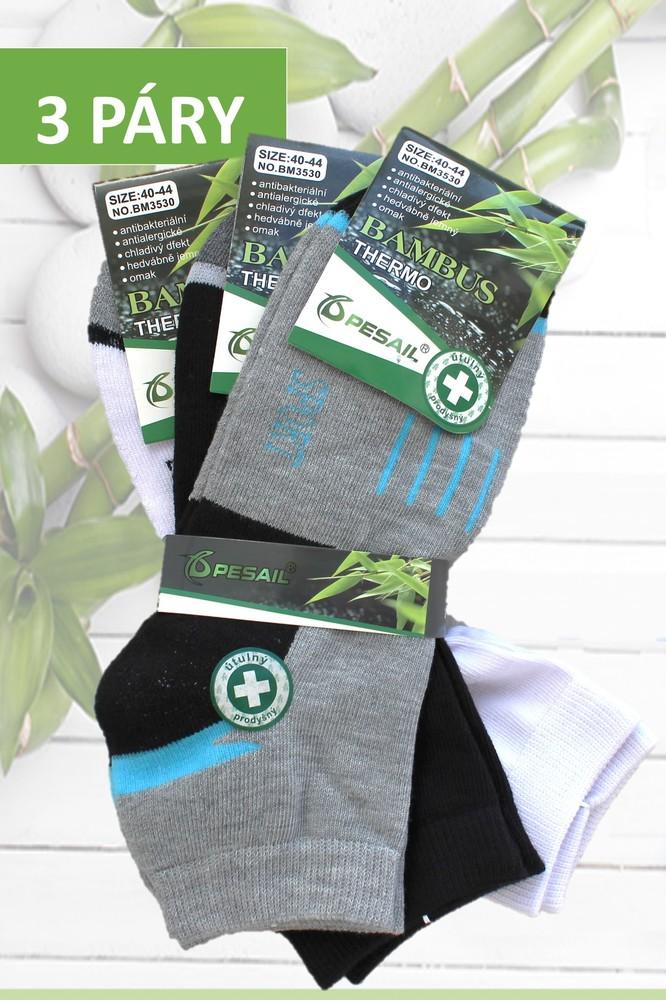 3bee2ccbb78 Pesail ponožky pánské bambusové termo kotníkové 3 páry černé