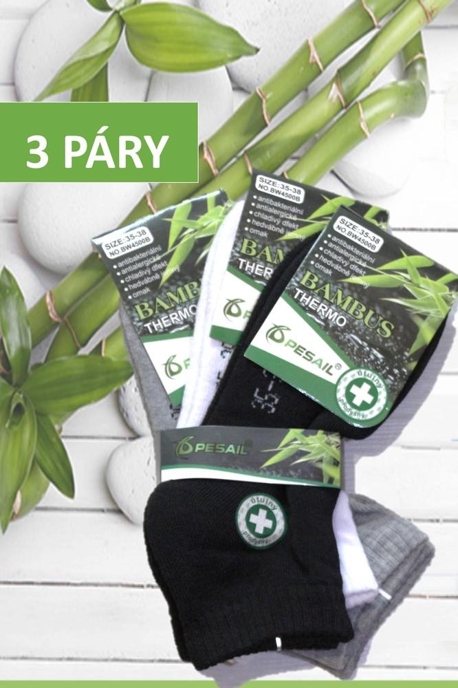 Pesail dámské bambusové termo ponožky kotníkové černé b012ccd7cc