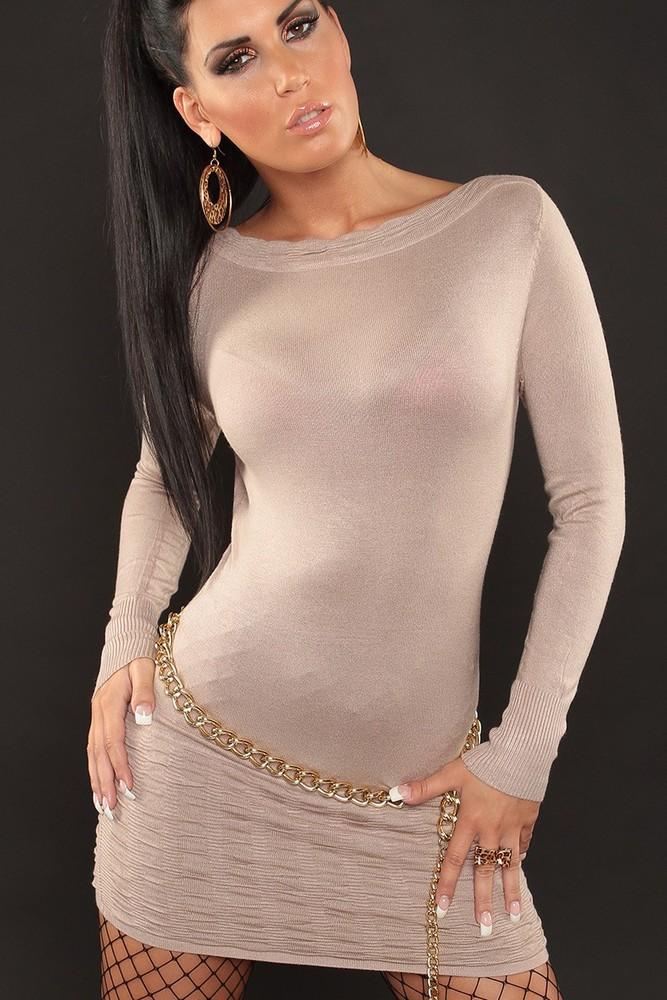 a1c02cf36c91 Luxestar dámské minišaty béžové jednobarevné s dlouhým rukávem 0000D602 - Úpletové  šaty - Galanto.cz