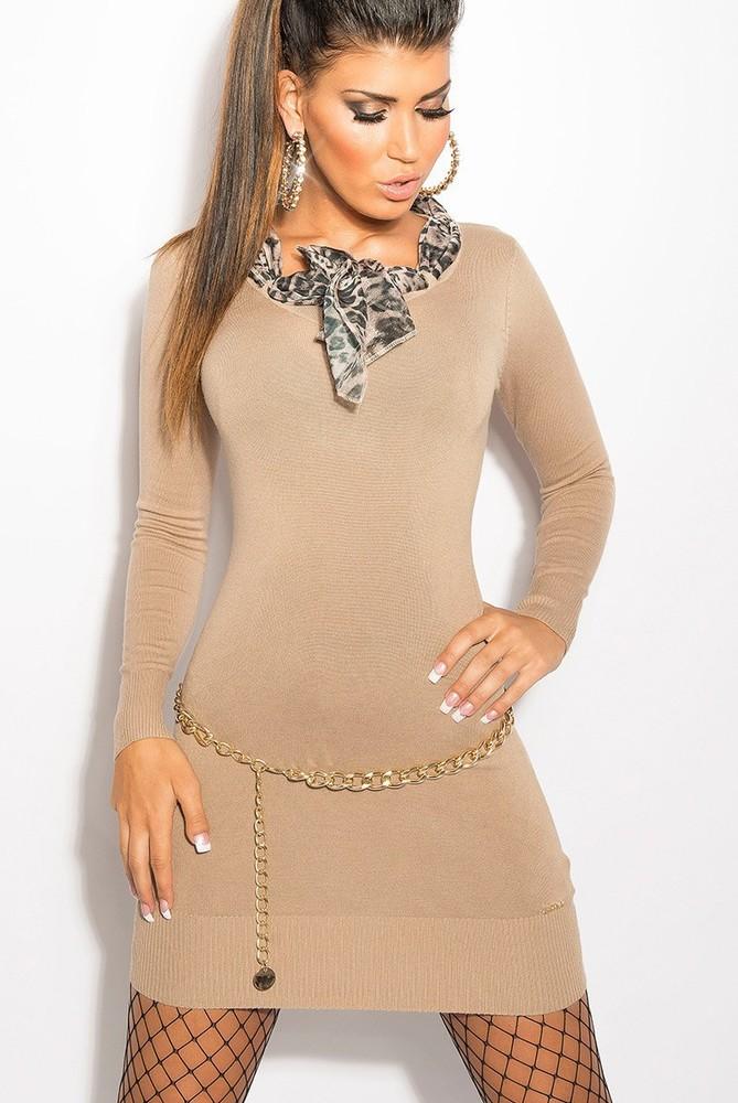 KouCla úpletové šaty s šátkem béžové barvy - Svetry s dlouhým rukávem -  Galanto.cz 0328c1b961