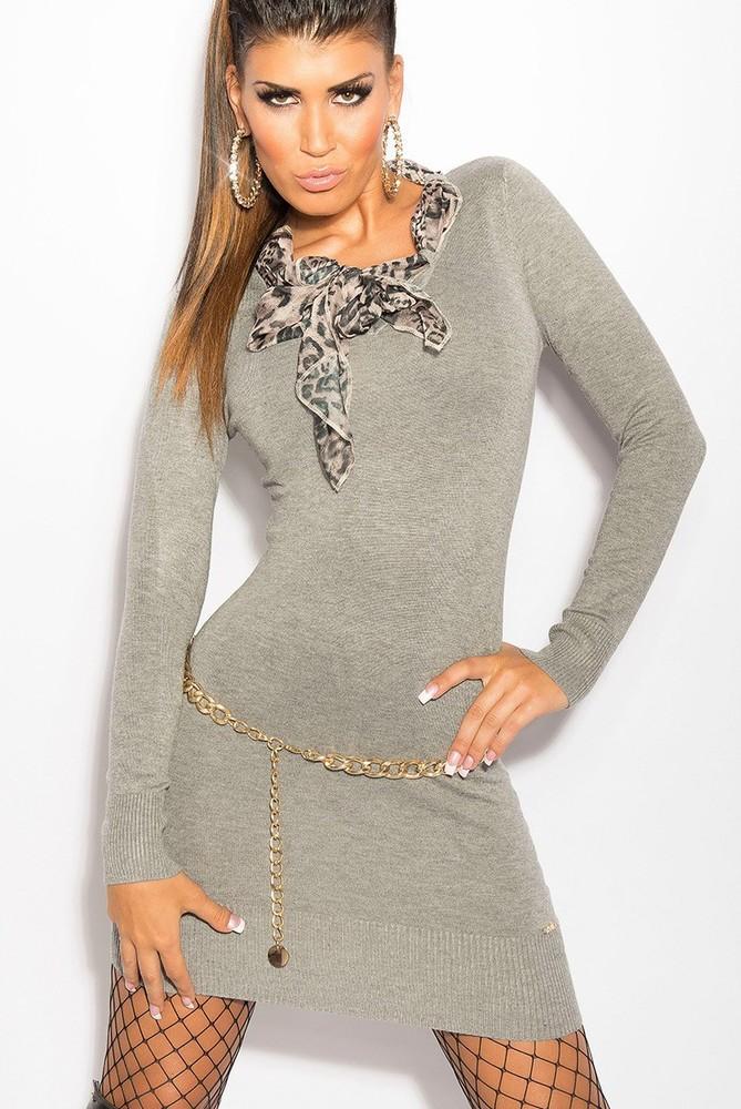 493f69052fd KouCla úpletové šaty s šátkem šedé barvy - Svetry s dlouhým rukávem -  Galanto.cz