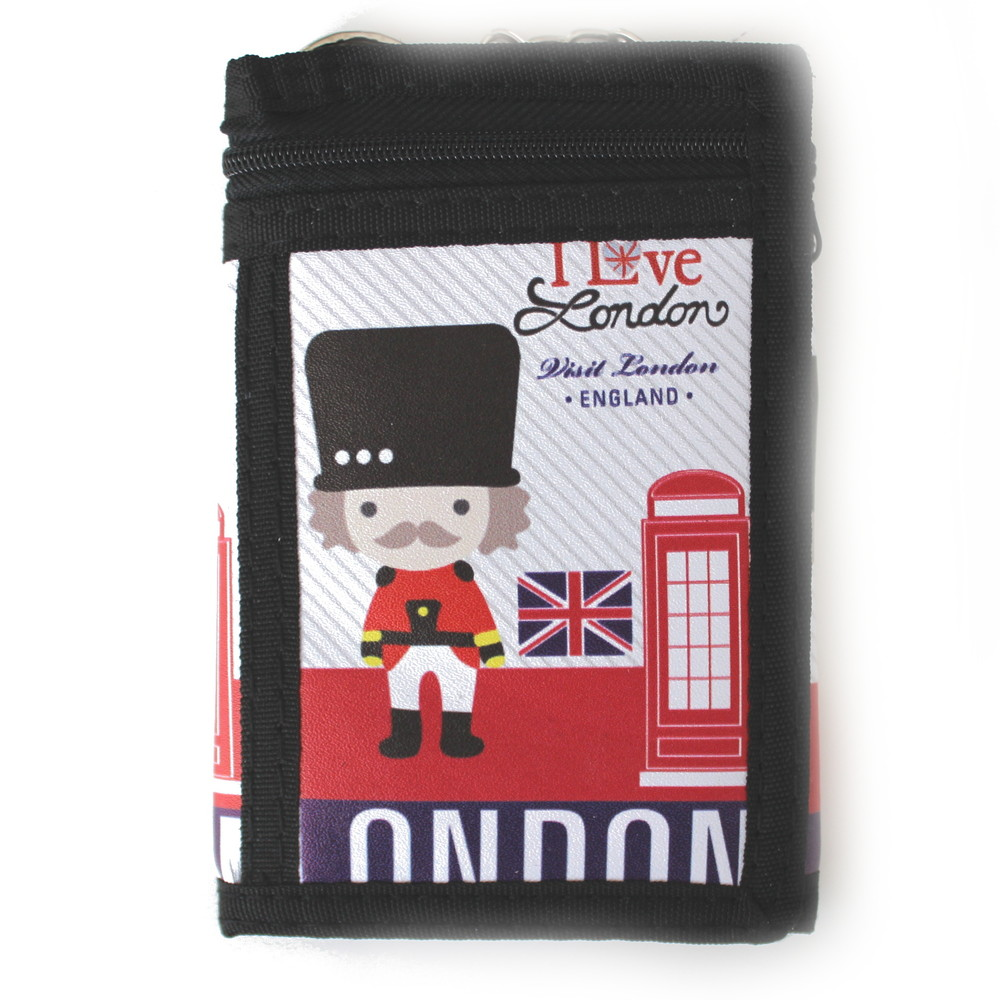 b0637ef71cb Látková peněženka černá s potiskem London a řetízkem - Sportovní peněženky  - Galanto.cz