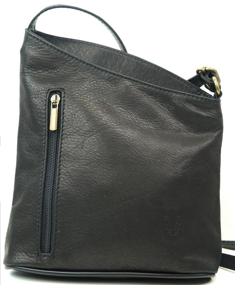 aae840bdc6 Dámská kožená černá kabelka crossbody Vera Pelle Made in Italy - Kožené  kabelky - Galanto.cz
