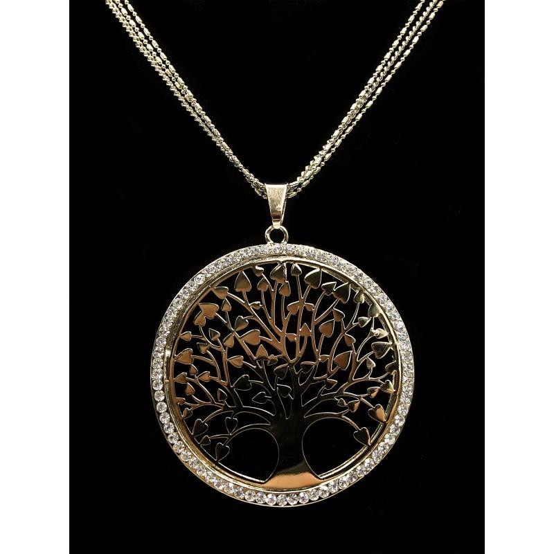 Dlouhý řetízek s přívěskem strom života zlatý s kamínky Lorenti ... e94154fe700