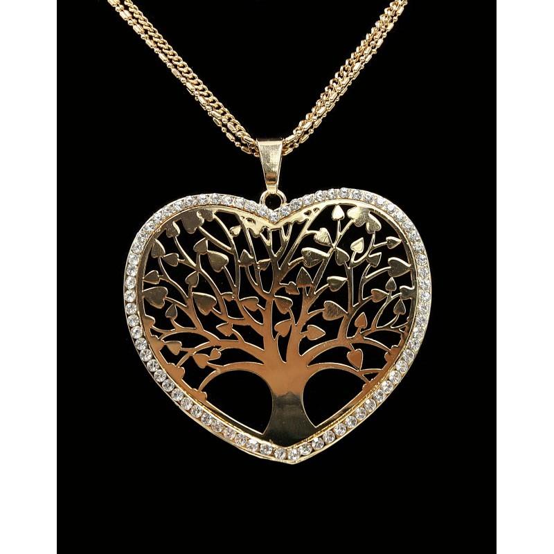Dlouhý řetízek s přívěskem strom života a srdce zlatý s kamínky Lorenti  e17279ead52