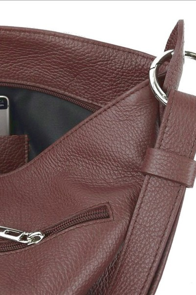 Dámská kabelka kožená středně hnědá crossbody Made in Italy e470c3a0f4b