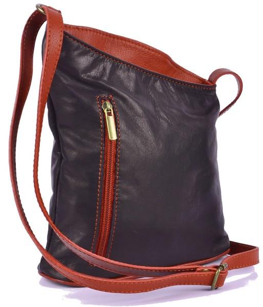 Dámská kožená kabelka crossbody Vera Pelle černá 95cf11153f6