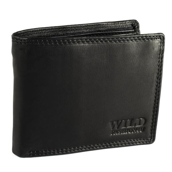 Pánská Kožená Peněženka Černá C-333-Z-PATT-BL