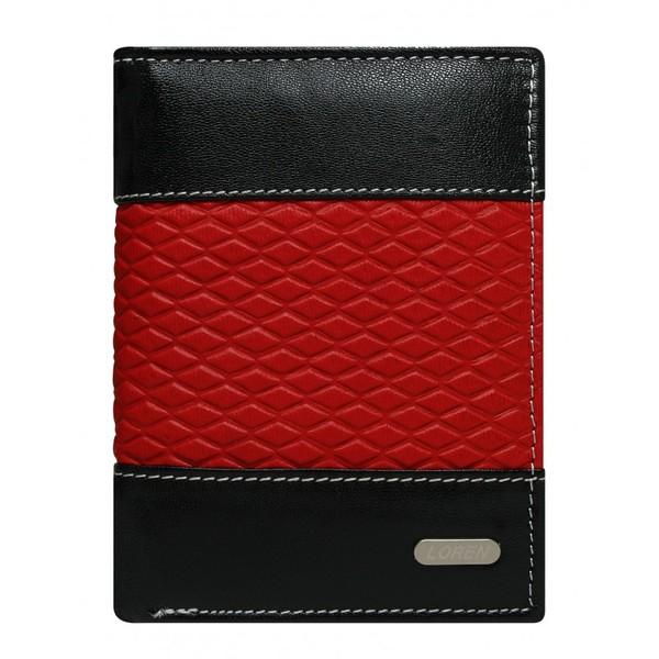 Pánská černá kožená peněženka LOREN RFID N4-DDG-bl-RED