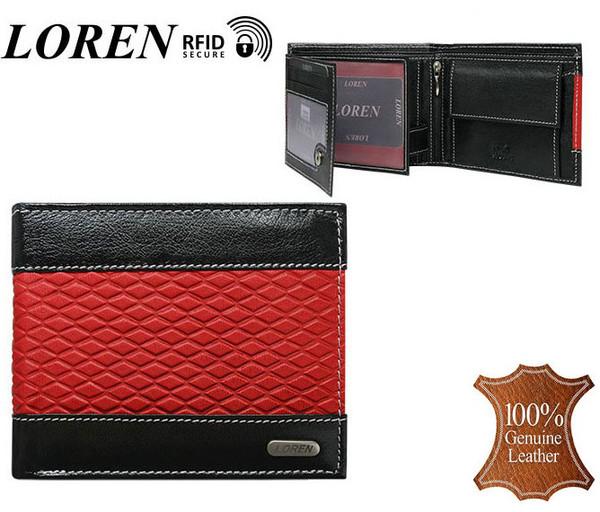 Pánská černá kožená peněženka LOREN RFID N992-DDG-bl-red