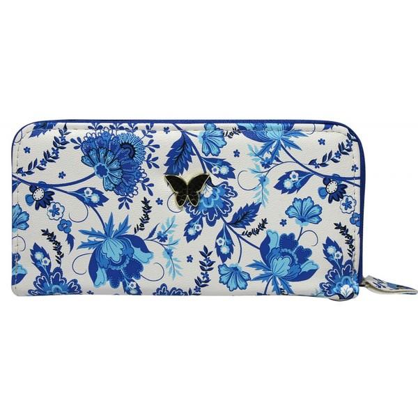Dámská velká peněženka na zip 1105-white blue