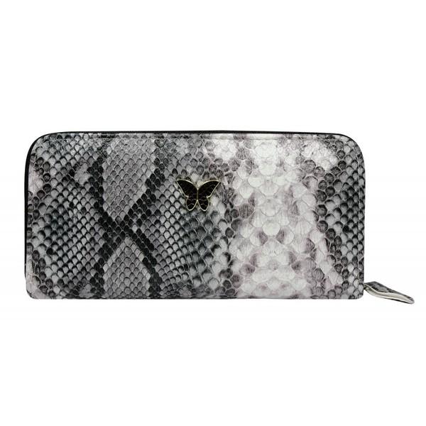 Dámská velká peněženka na zip hadí 1105-grey snake