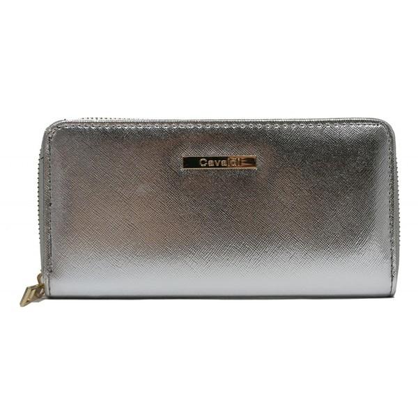 Dámská velká peněženka na zip stříbrná Cavaldi YYXB-08