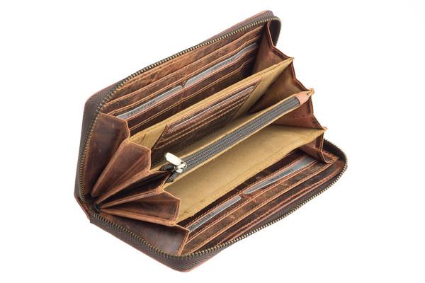 092d3a908e7 Dámská luxusní kožená peněženka na zip hnědá 29786 - Velké peněženky -  Galanto.cz