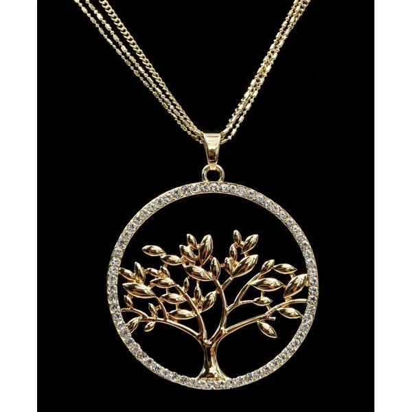 Dlouhý řetízek s přívěskem strom života zlatý s kamínky Lorenti