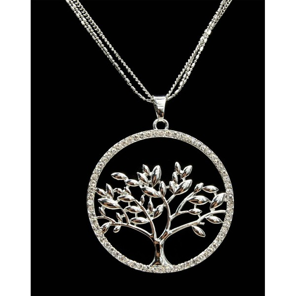 Dlouhý řetízek s přívěskem strom života s kamínky Lorenti