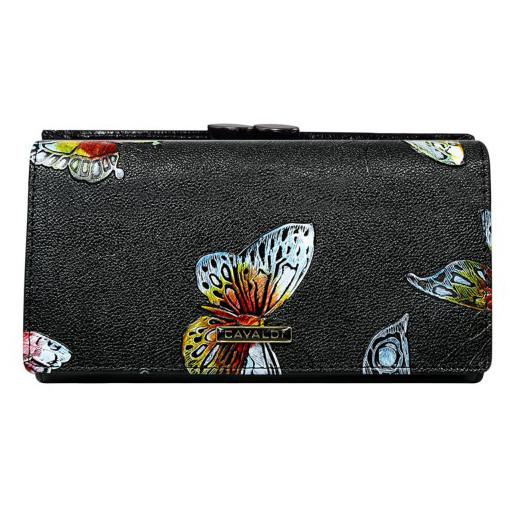 Dámská peněženka černá s motýly Cavaldi PN23-BFP