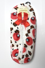 Dámské domácí papuče, bačkory bílé se vzorem a mašlí