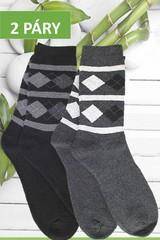 Ellasun pánské bambusové termo ponožky vysoké tmavě šedé a černé 2 páry