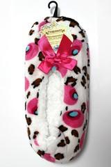 Dámské domácí obuv s mašlí, papuče,bačkory bílé se vzorem