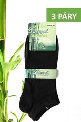 Pesail pánské i dámské bambusové ponožky kotníkové černé 3 páry