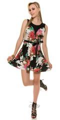 Letní dámské šaty s květy černo růžové