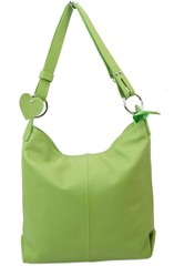 Made in Italy dámská kožená kabelka přes rameno světle zelená