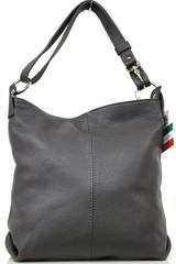 Dámská šedá kožená dámská kabelka přes remeno Made in Italy