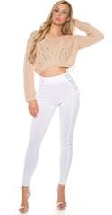 Dámské bavlněné úzké bílé kalhoty
