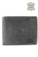 Wild Fashions pánská kožená peněženka černá na šířku prošitá