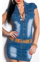 Dámské džínsové minišaty KouCla s páskem