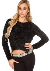Koucla dámský černý svetr plyšový
