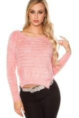 Koucla dámský růžový svetr plyšový