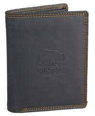 Hunters Premium peněženka pánská kožená černá na výšku 308