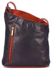 Kožená kabelka černo červená Vera Pelle MADE IN ITALY K025