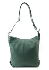 Dámská kabelka kožená tmavě zelená crossbody Made in Italy