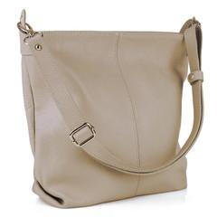 Dámská kožená kabelka přes rameno crossbody béžová Made in Italy