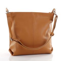Dámská kožená kabelka přes rameno světle koňaková Made in Italy