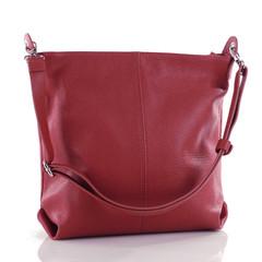 Dámská kožená kabelka přes rameno červená crossbody Made in Italy