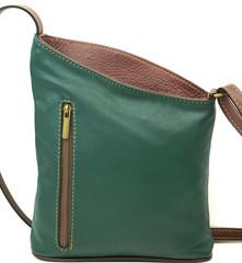 Dámská kožená kabelka crossbody Vera Pelle Made in Italy zelená