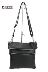 Dámská velká kožená kabelka černá Made in Italy