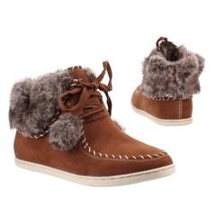 Dámské,dívčí kotníčkové boty s kožíškem hnědé