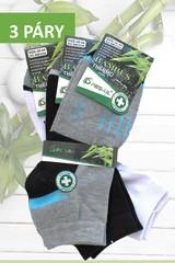 Pesail ponožky pánské bambusové termo kotníkové 3 páry černé, šedé, bílé