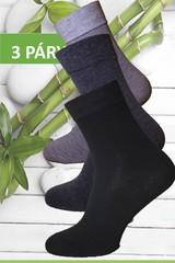 Pesail ponožky zdravotní bambusové jednobarevné 3 páry černá, tm. šedá, šedá