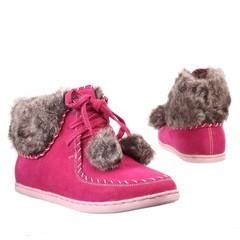 Dámské,dívčí kotníčkové boty s kožíškem růžové 6163