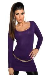 Koucla dámský dlouhý svetr fialový s řetízky na zádech