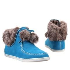 Dámské,dívčí kotníčkové boty s kožíškem modré 6163