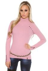 Koucla dámský pletený svetr s rolákem růžový