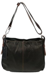 Made in Italy dámská kožená kabelka černá s hnědými módními doplňky Giacomo