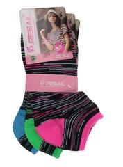 Pesail ponožky dámské 3 páry růžová, zelená, modrá